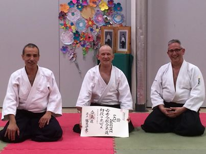 Paul Newnham receiving his Aikikai shodan certificate, May 9th 2014